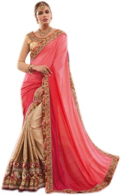 Lajo Solid Bollywood Georgette, Jacquard, Silk Sari