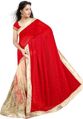 Om Shree Vallabh Embriodered Banarasi Georgette Sari
