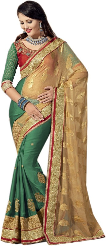 Aarti Apparels Embroidered Bollywood Brasso Saree(Beige, Green)