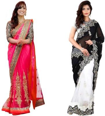 Tulsi Nx Solid Fashion Georgette, Net Sari