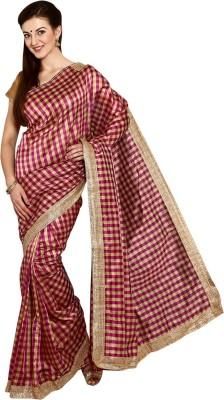 Thamaraigrandies Checkered Fashion Cotton, Silk Sari