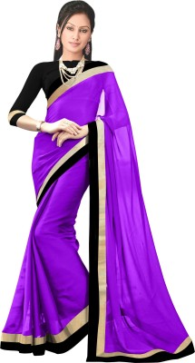 Unique fashion Plain Fashion Chiffon Sari