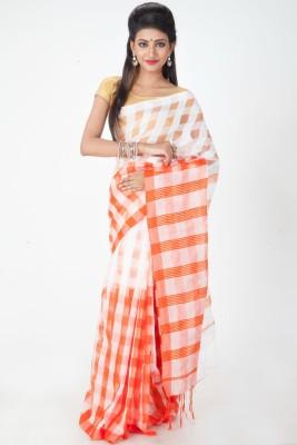 Jhumya Checkered Tant Handloom Cotton Sari