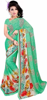 Crown Prints Graphic Print Bollywood Synthetic Georgette Sari