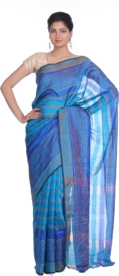 Indian Artizans Striped Jamdani Handloom Pure Silk Sari