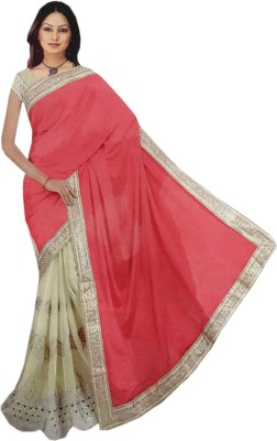 M.S.Center Embriodered Fashion Synthetic Sari