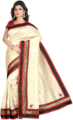 Saara Embroidered Fashion Chiffon Saree(White, Red) at flipkart