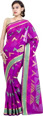 Chandrakala Striped Banarasi Cotton, Silk Saree(Pink) at flipkart