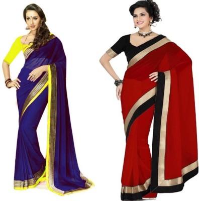 Rockchin Fashions Plain Bollywood Georgette Sari