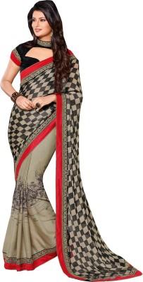 Queenbee Embriodered, Checkered, Self Design Fashion Georgette Sari