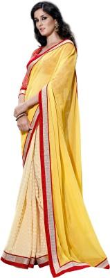DIVINEFASHIONSTUDIO Embriodered Fashion Chiffon, Jacquard Sari