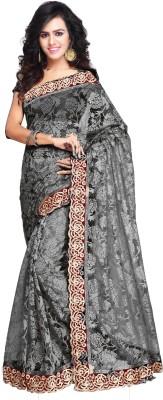 Aruna Sarees Self Design, Embroidered Fashion Net Sari(Black)