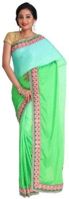Nav Durga Applique, Solid, Embellished Fashion Handloom Art Silk Sari