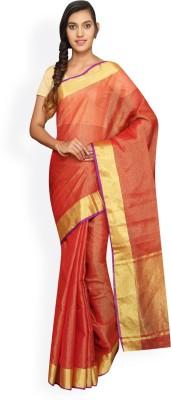 Pavechas Solid Banarasi Kota Tissue Saree(Orange) at flipkart