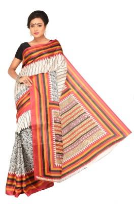 Keya Sarees Graphic Print Ikkat Art Silk Sari(Pink)
