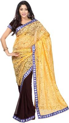 DK Fashion Solid Bollywood Brasso, Chiffon Sari