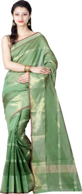 Chandrakala Printed Banarasi Silk Saree(Green) at flipkart