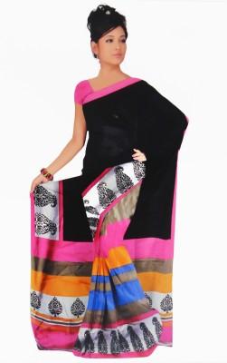 BPS Printed, Striped Bhagalpuri Handloom Printed Silk, Art Silk, Khadi, Silk Cotton Blend Sari