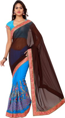 Jagdamba Creation Embriodered Bollywood Brasso Sari