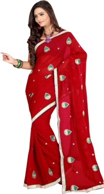 Sanju Sarees Embroidered Fashion Georgette Saree(Maroon) at flipkart