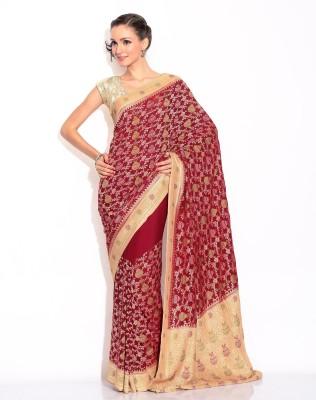 Zain Textiles Woven Banarasi Chiffon Sari at flipkart