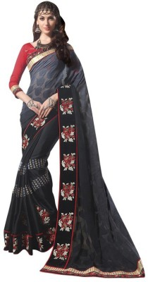 Manvaa Embroidered Fashion Georgette Saree(Grey) at flipkart