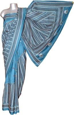 Kreasions Geometric Print Kantha Handloom Silk Sari