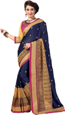 M.S.Retail Embroidered Fashion Chiffon, Net Saree(Blue) at flipkart