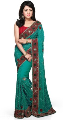 Bay & Blue Embellished Bollywood Handloom Organza Sari