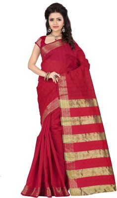 Stutti Fashion Self Design Kanjivaram Silk Saree(Red) at flipkart