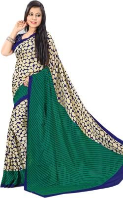 Purple Boat Geometric Print Fashion Pure Crepe Sari