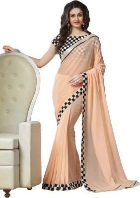 Archishmathi Solid Bollywood Georgette Saree(Beige) at flipkart