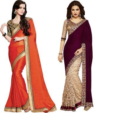 MAA CREATION Solid Fashion Velvet Sari