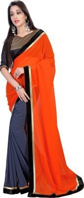 sivermoonfashion Self Design Fashion Pure Georgette Sari