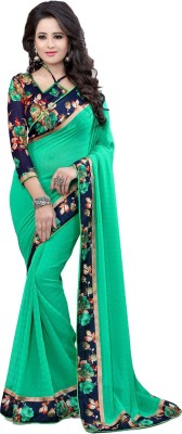 Shreeji Designer Solid Fashion Pure Georgette Sari