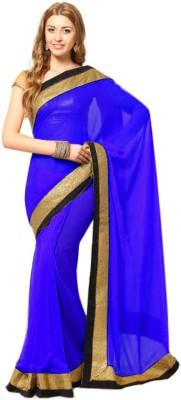 Abhinav Fashion Solid Fashion Chiffon Sari