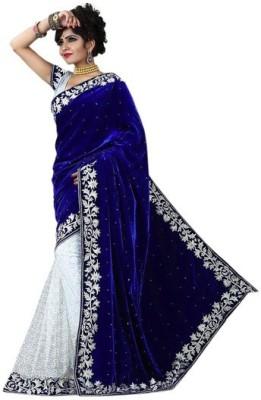 Om Sai Laxmi Creation Solid, Embriodered, Self Design Bollywood Net, Velvet Sari