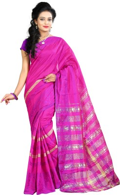 Needle Impression Printed Daily Wear Silk Sari(Multicolor)