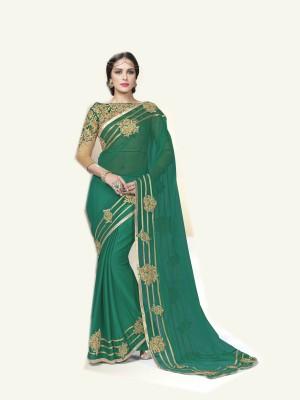 NARGIS FASHION Embriodered Fashion Chiffon Sari