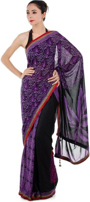Bazzzar Floral Print Fashion Georgette Sari