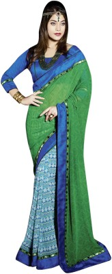 Vibes Printed Fashion Georgette Saree(Green) at flipkart