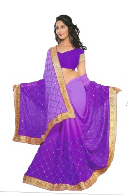 Be Beautiful Embriodered Daily Wear Chiffon Sari