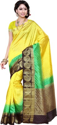 Mimosa Woven Kanjivaram Tussar Silk Saree(Gold) at flipkart