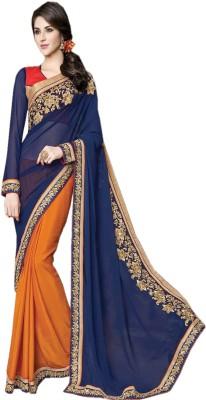 Go Traditional Embriodered Fashion Crepe Sari