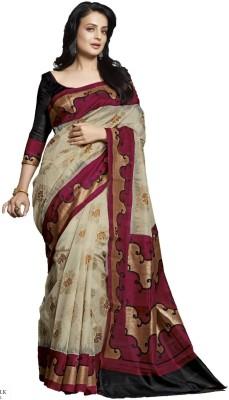 DIVINEFASHIONSTUDIO Printed Bhagalpuri Cotton Sari