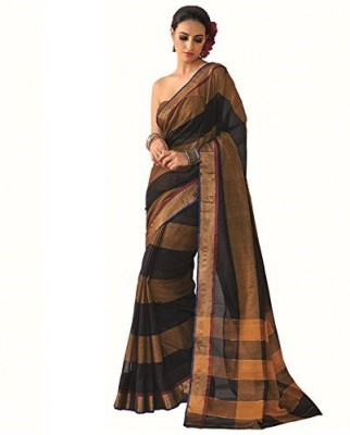 Mukesh Striped Daily Wear Handloom Cotton, Silk Cotton Blend Sari