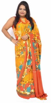 Gulmohaar Floral Print, Printed Bollywood Chiffon Sari