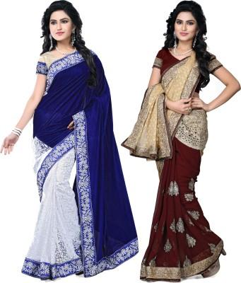 SNV Fashion Embriodered, Embellished Fashion Velvet, Brasso, Chiffon, Brasso Sari