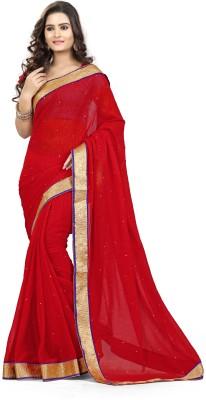 Livaaz Solid Berhampuri Chiffon Sari