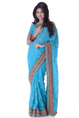 Ambition Sarees Self Design Fashion Georgette Sari